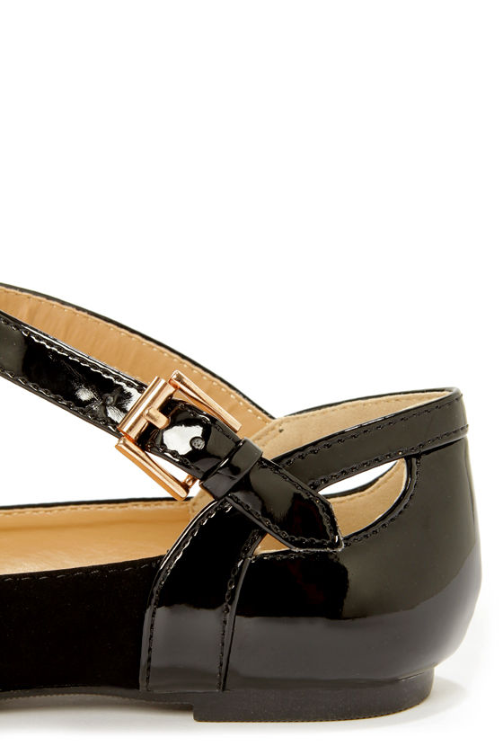 City Classified Calc Black Ankle Strap Pointed Flats at Lulus.com!
