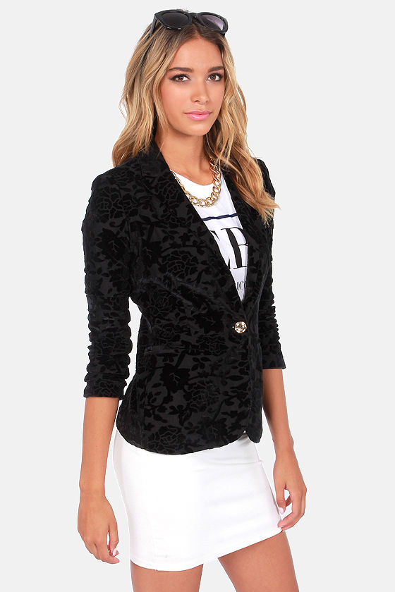Southern Gothic Black Velvet Blazer at Lulus.com!