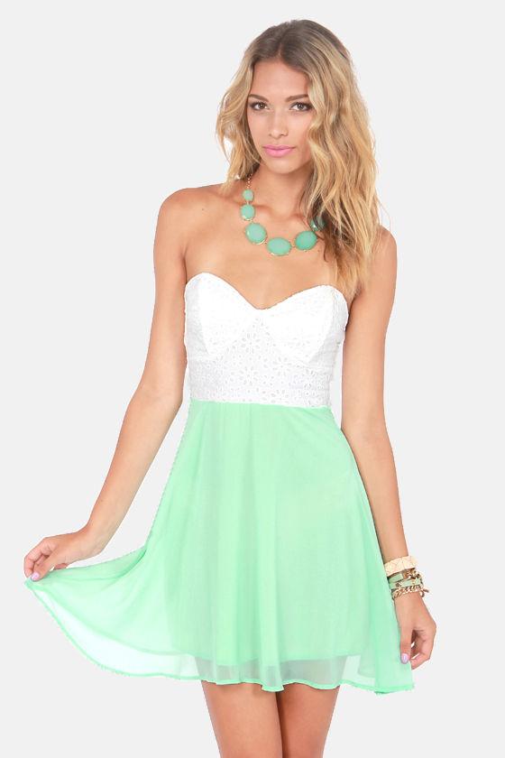 dfc92ee0239 Eyelet Lace Dress - Mint Green Dress - Strapless Dress -  48.00