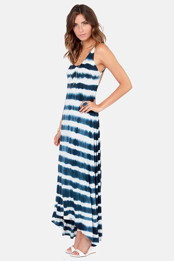 To Tie Dye For Navy Blue and Ivory Maxi Dress at Lulus.com!