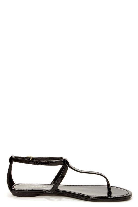 City Classified Indigo Black Patent T-Strap Thong Sandals at Lulus.com!