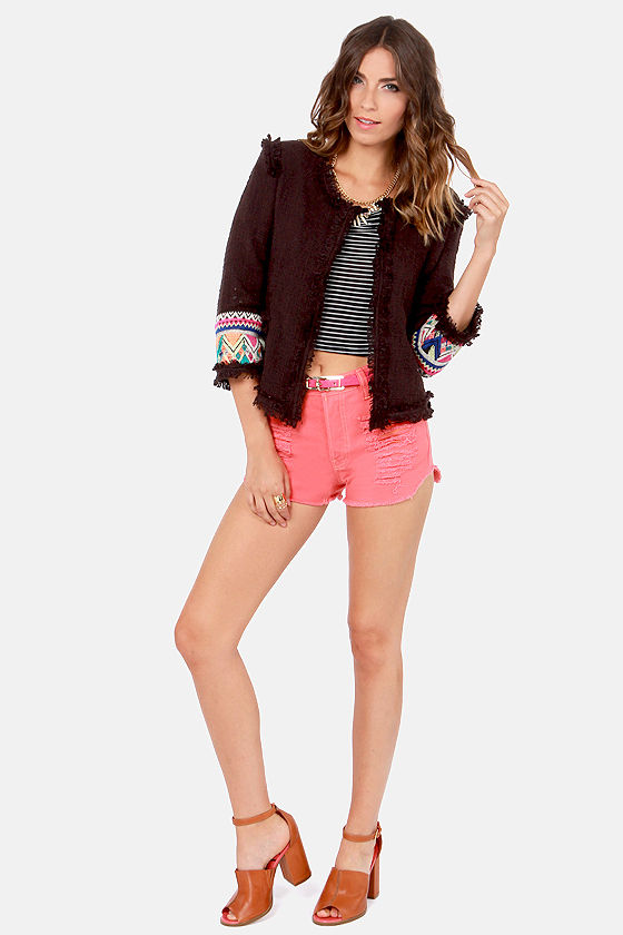 Billabong Lou Embroidered Black Cropped Jacket at Lulus.com!