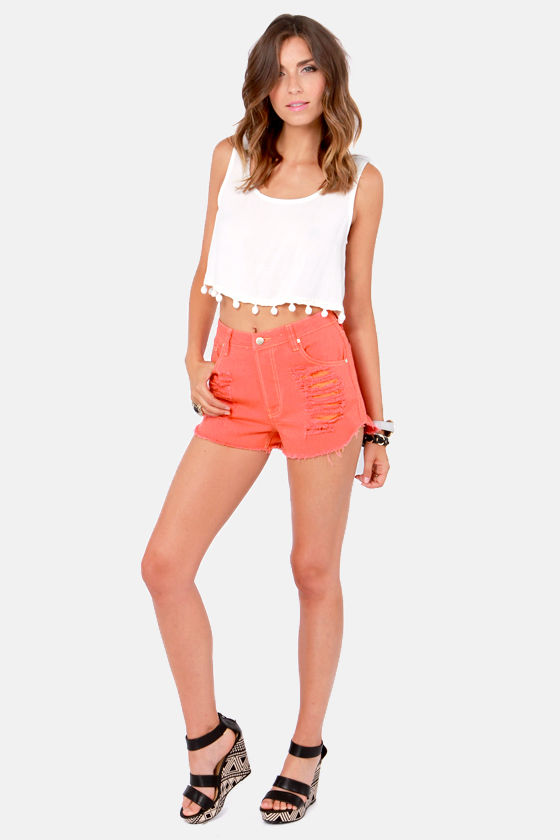 Mink Pink Slasher Flick Coral Cutoff Jean Shorts at Lulus.com!
