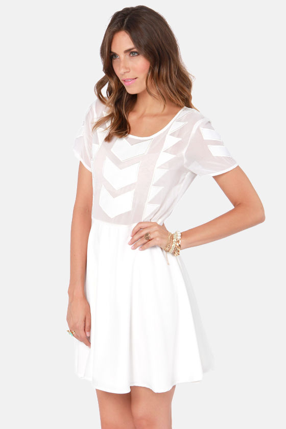 Mink Pink Zepher Sheer Ivory Dress at Lulus.com!
