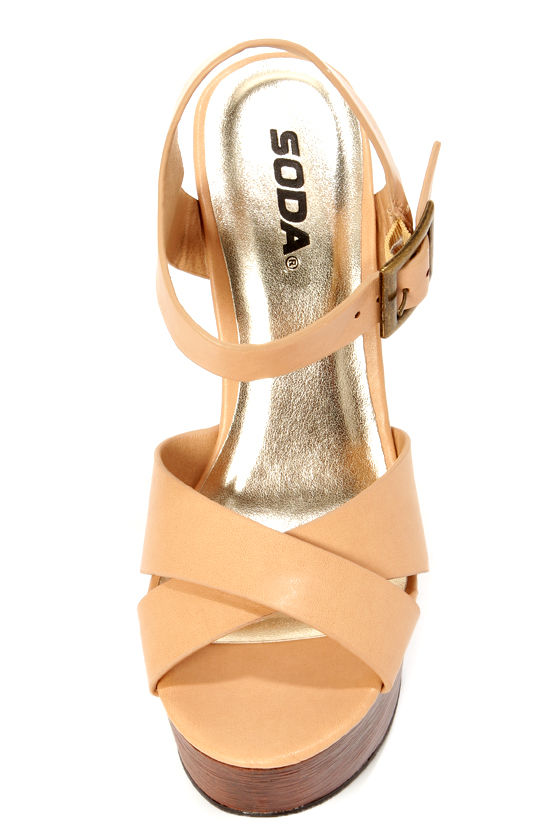 Soda Lofty Natural Beige Platform Wedge Sandals at Lulus.com!