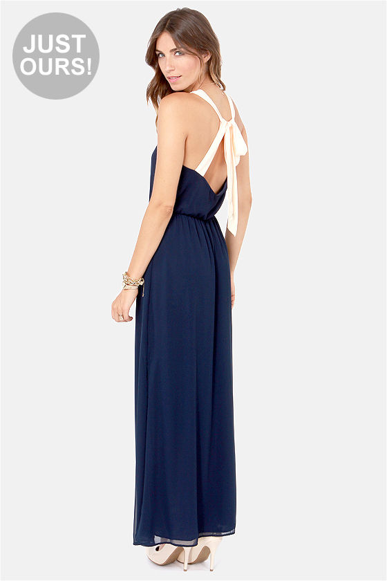 0168ab3a025 LULUS Exclusive Slit to be Tied Navy Blue Maxi Dress