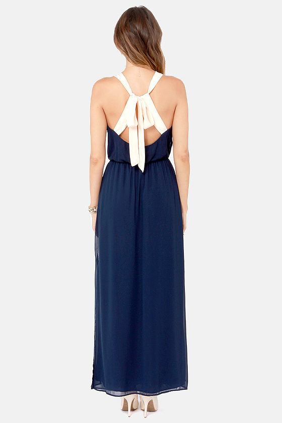 LULUS Exclusive Slit to be Tied Navy Blue Maxi Dress at Lulus.com!