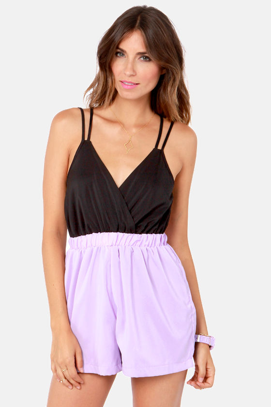 Reverse Rompin' Empire Backless Lavender and Black Romper at Lulus.com!