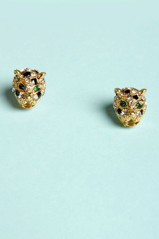 Nine Lives Cat Rhinestone Earrings at Lulus.com!