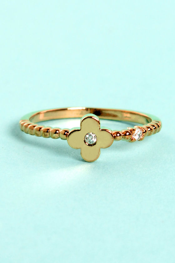 Clover and Over Gold Knuckle Ring at Lulus.com!