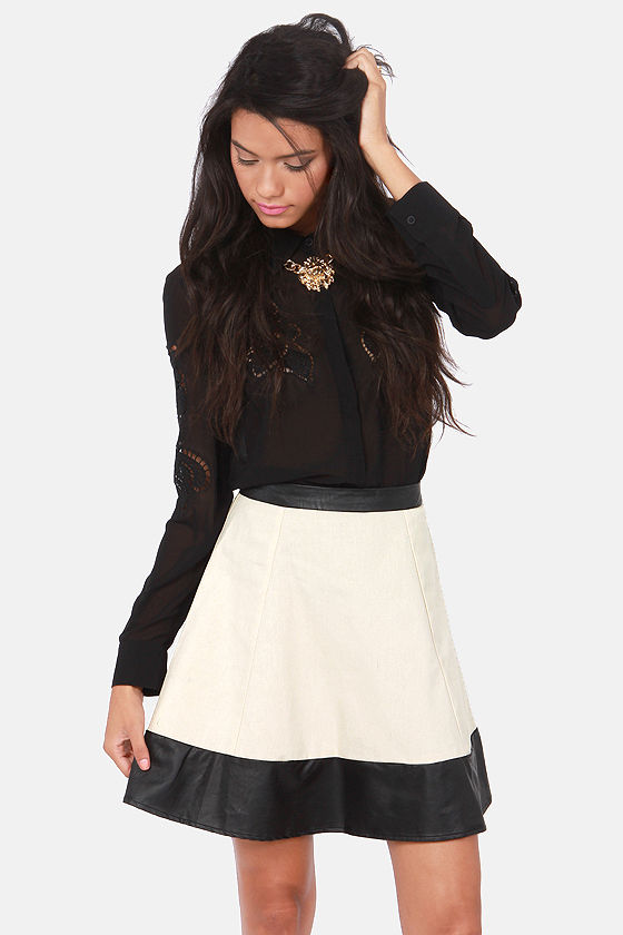 Little Bit Rock 'n' Roll Cream and Vegan Leather Skirt at Lulus.com!