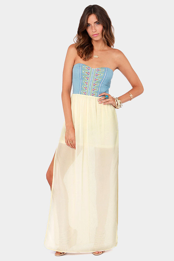 Stitch Perfect Embroidered Cream and Blue Maxi Dress at Lulus.com!