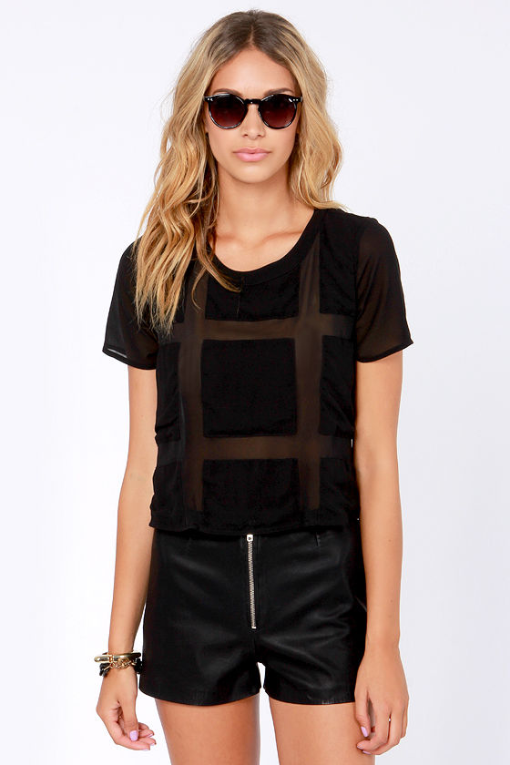 Sheer Review Black Top at Lulus.com!
