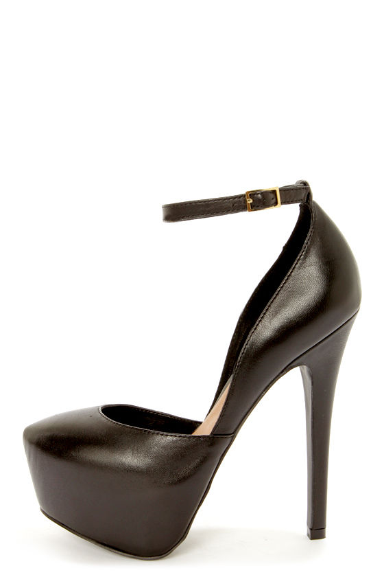Steve Madden Deeny Black Leather D Orsay Platform Pumps