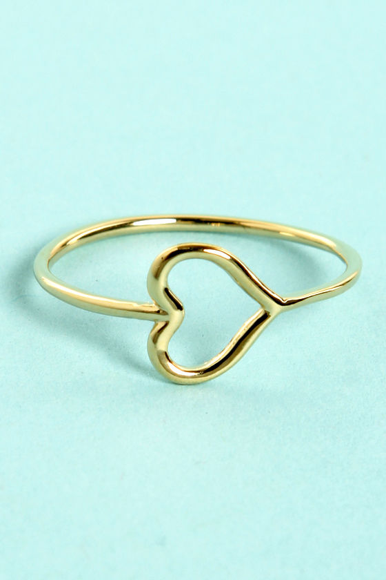 Heart-y Pants Gold Heart Ring at Lulus.com!