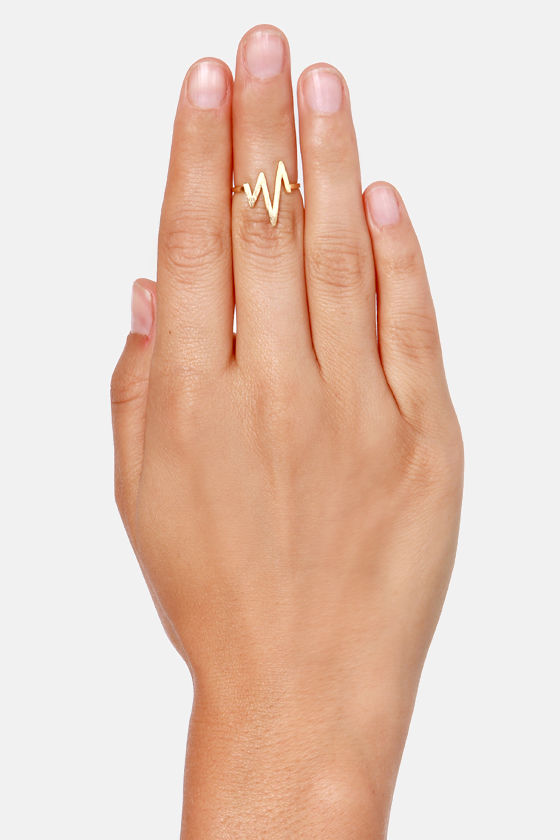 Lightning Bolt Gold Knuckle Ring at Lulus.com!