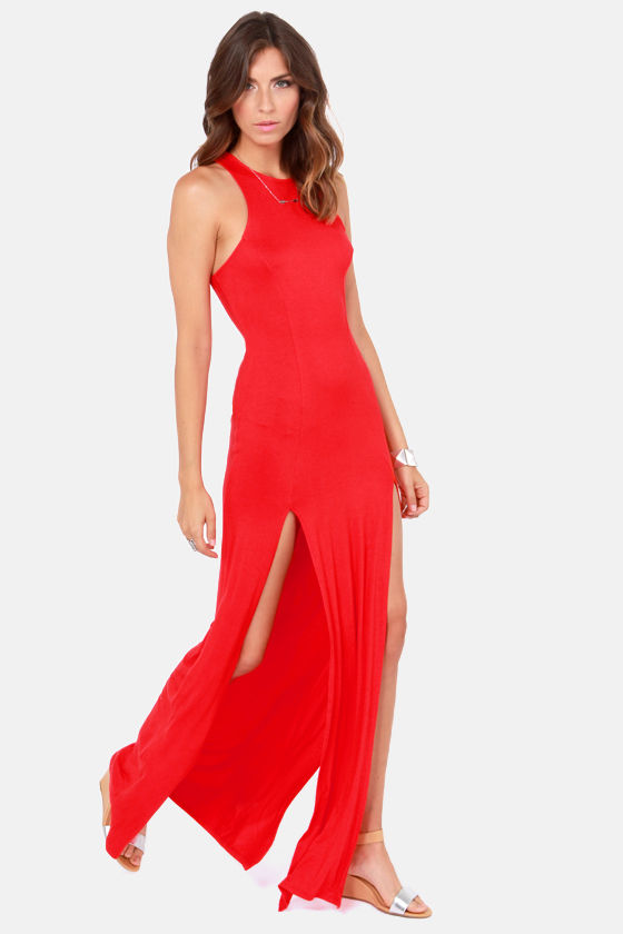 Stem Spells Red Racerback Maxi Dress at Lulus.com!