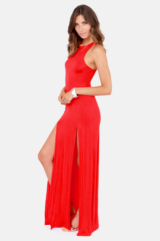 Cute Red Dress - Maxi Dress - Racerback Dress - $41.00