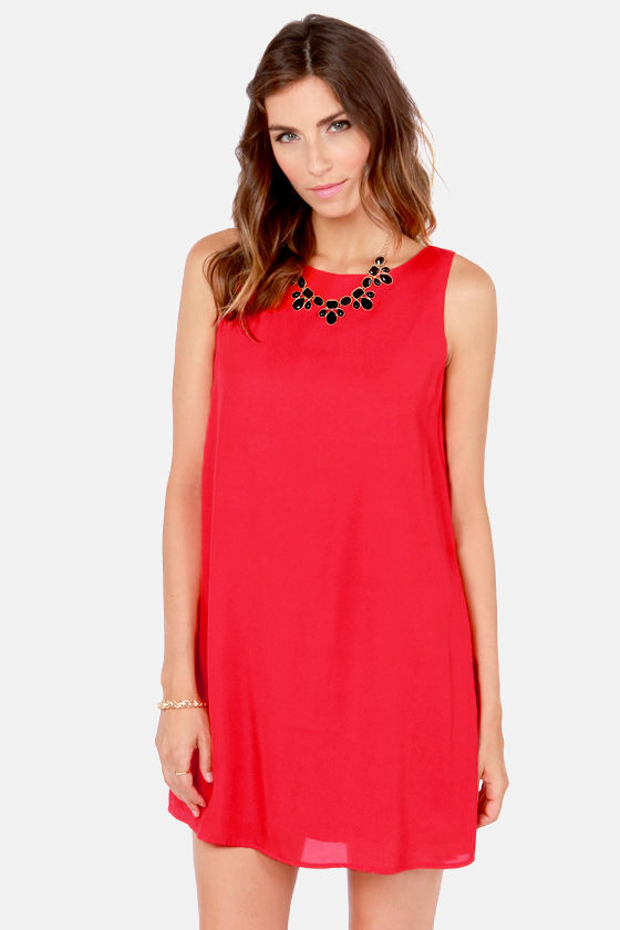 Under the Bow-dwalk Red Shift Dress at Lulus.com!