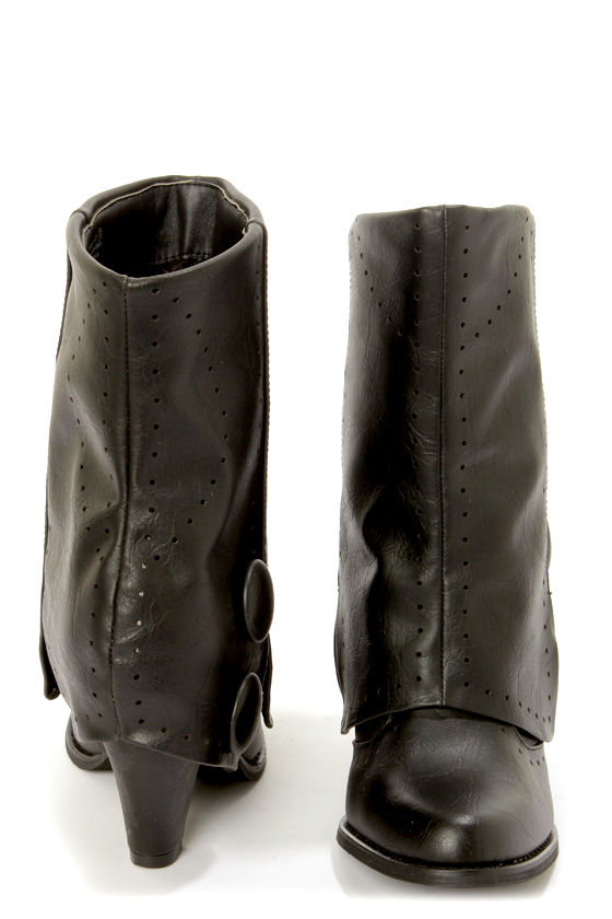 Not Rated Most Wanted Black Pierced and Buttoned Fold-Over Boots at Lulus.com!