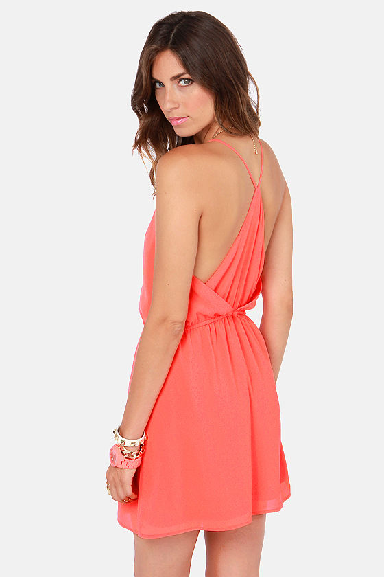 Cute Coral Dress - Backless Dress - $43.00