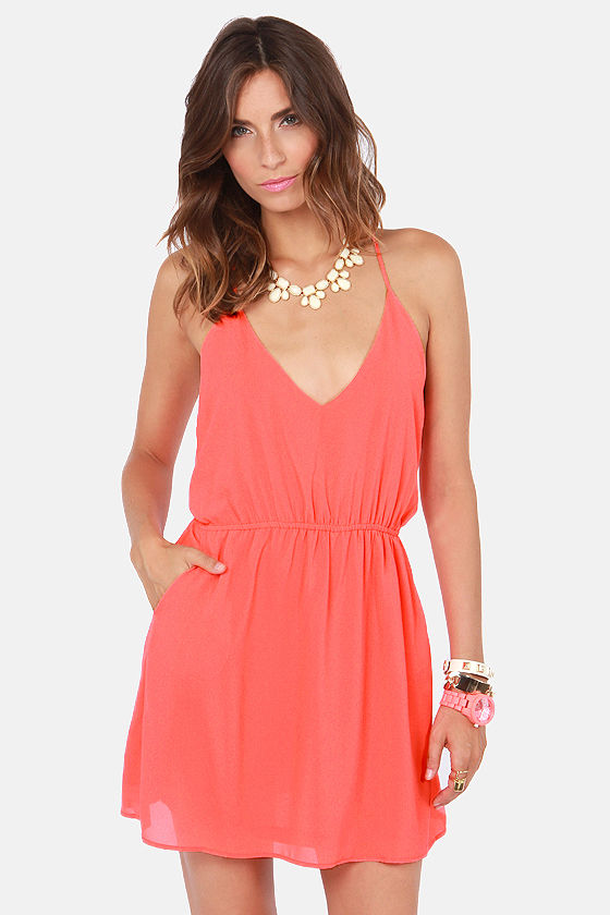 Show and Tell Coral Dress at Lulus.com!