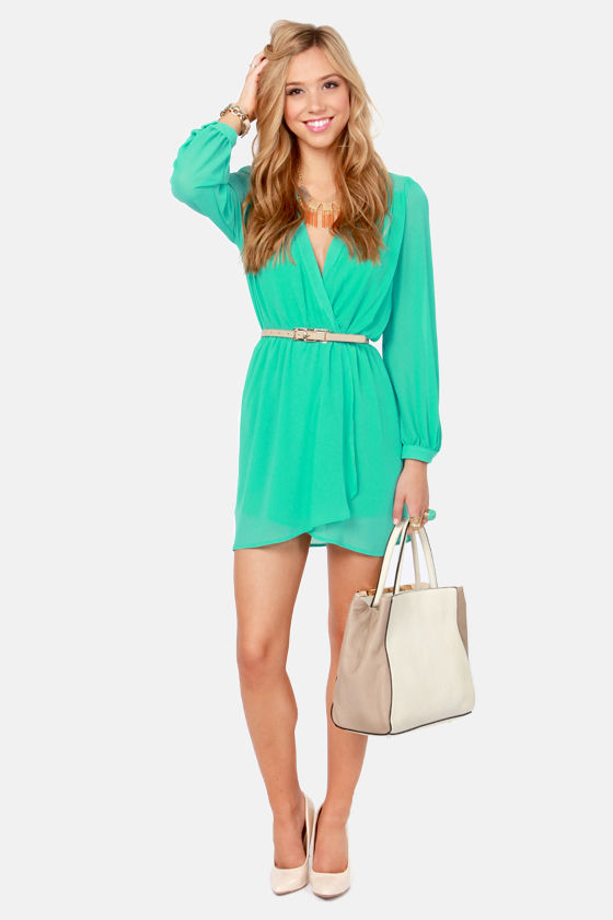 LULUS Exclusive Under Wraps Aqua Wrap Dress at Lulus.com!
