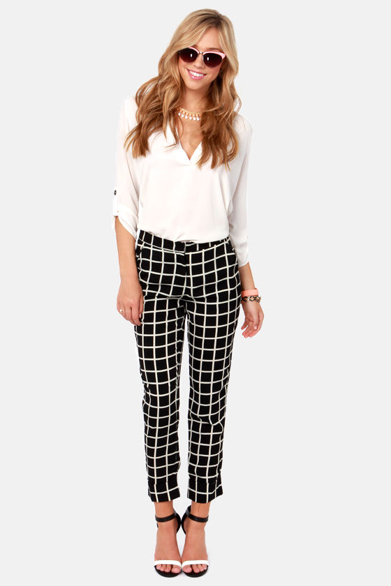 Cute Black Pants Print Pants Checkered Pants 44 00 Lulus