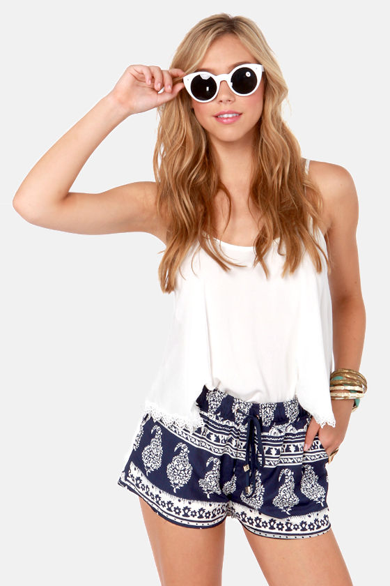 Cute Print Shorts - Navy Blue Shorts - Ivory Shorts - $41.00