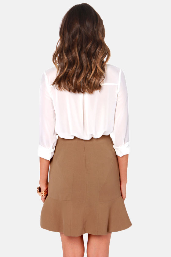 Pressed Flowers Brown Trumpet Skirt at Lulus.com!