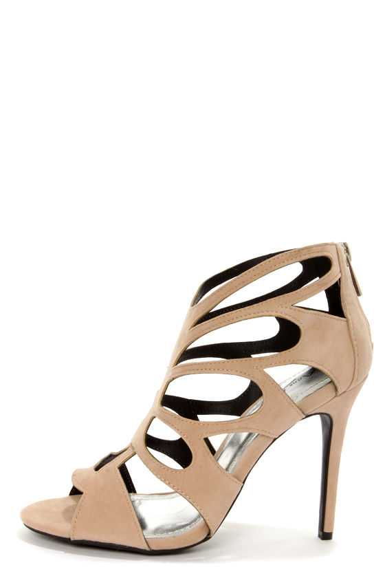 Anne Michelle Rapture 22 Nude Cutout Peep Toe Heels - $35.00