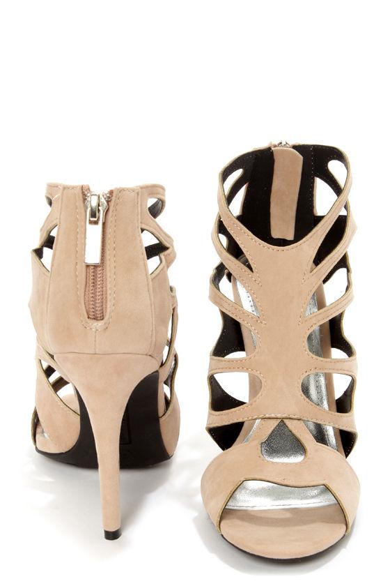 Anne Michelle Rapture 22 Nude Cutout Peep Toe Heels at Lulus.com!