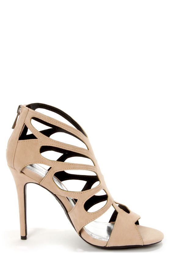 Anne Michelle Rapture 22 Nude Cutout Peep Toe Heels at Lulus.com!