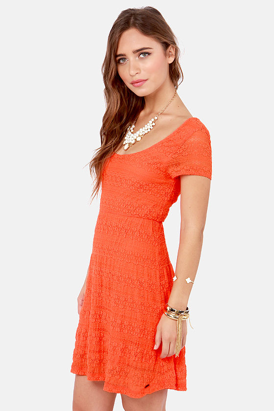 Volcom Remind Me Orange Lace Dress at Lulus.com!