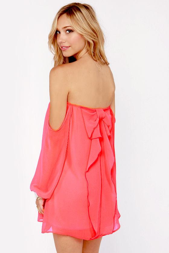 3d2dfade09a0 Cute Neon Coral Dress - Off-the-Shoulder Dress - Bow Dress - $43.00