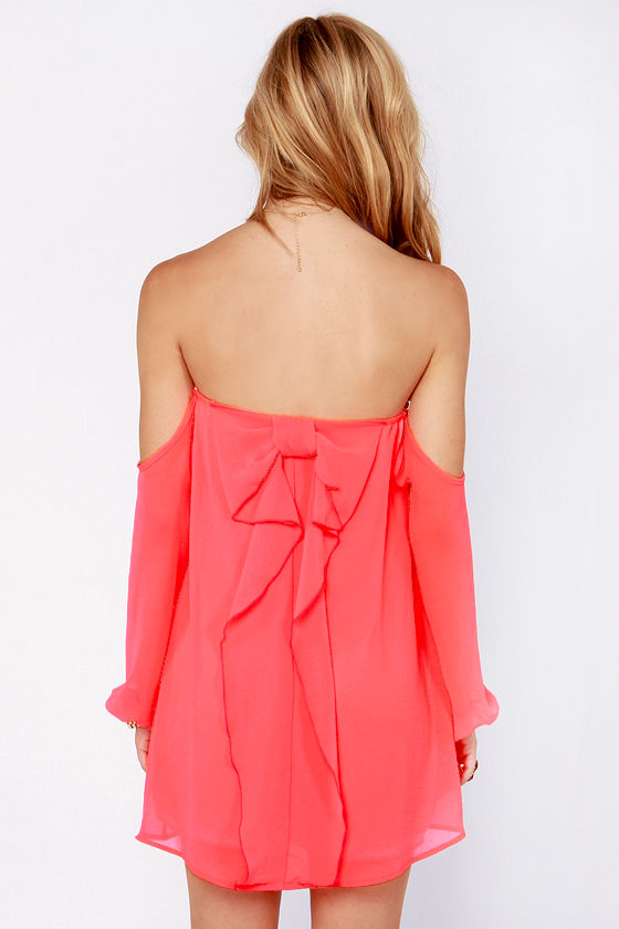 Take a Bow Off-the-Shoulder Neon Coral Dress at Lulus.com!
