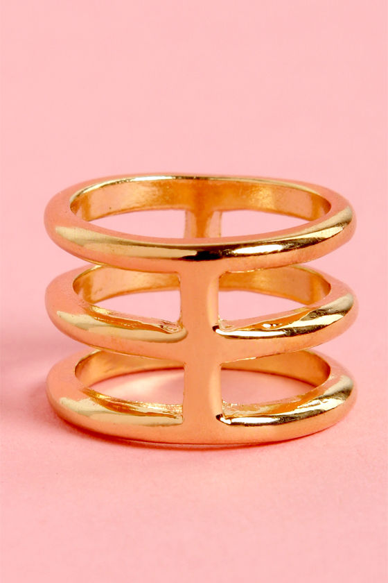 Cage-y in Love Gold Knuckle Ring at Lulus.com!