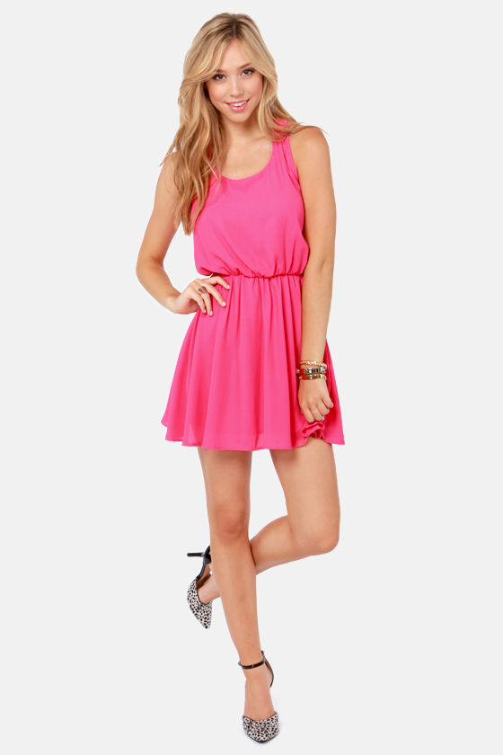 Twice as Nice Hot Pink Dress at Lulus.com!