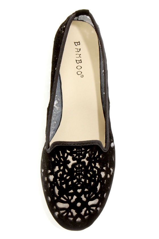 Bamboo Kiwi 19 Black Laser Cutout Smoking Slipper Flats at Lulus.com!
