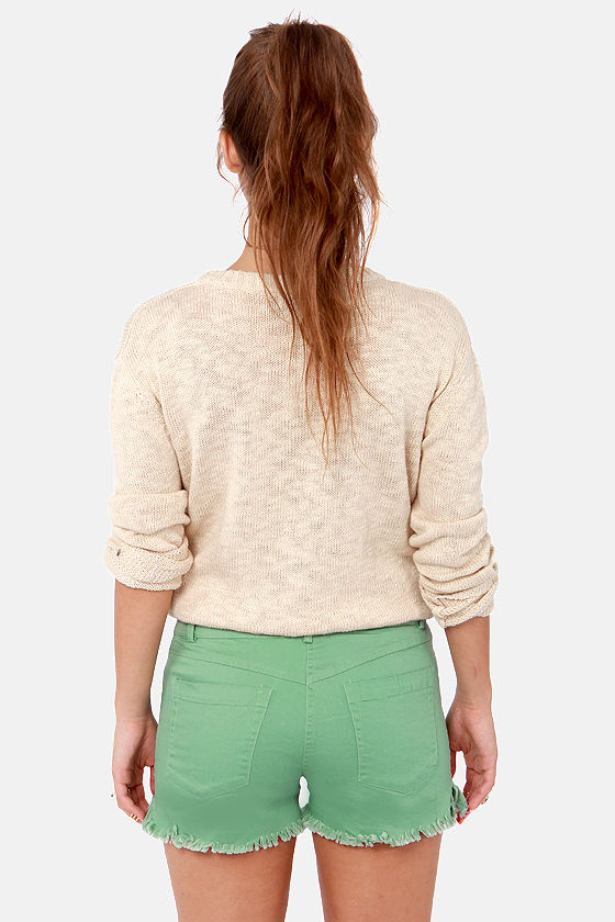 Jagged Little Twill Distressed Sage Green Shorts at Lulus.com!