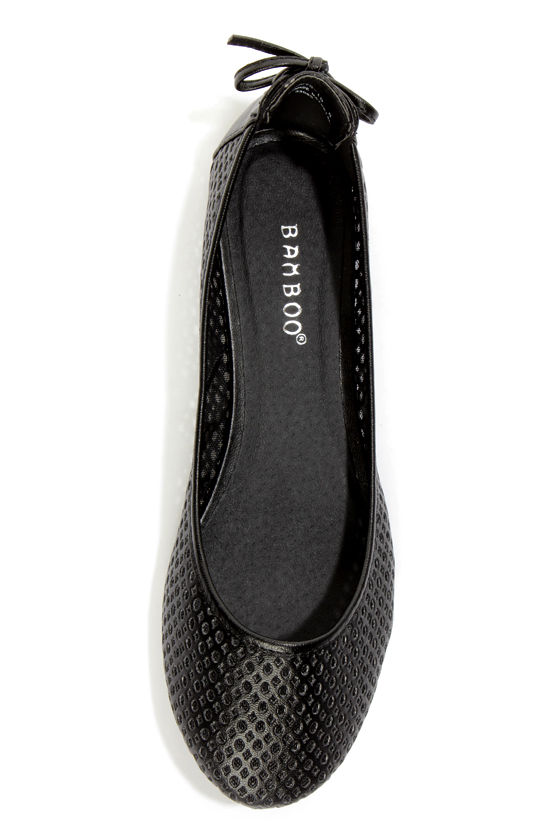 Bamboo Standouts 19 Black Laced-Back Cutout Ballet Flats at Lulus.com!
