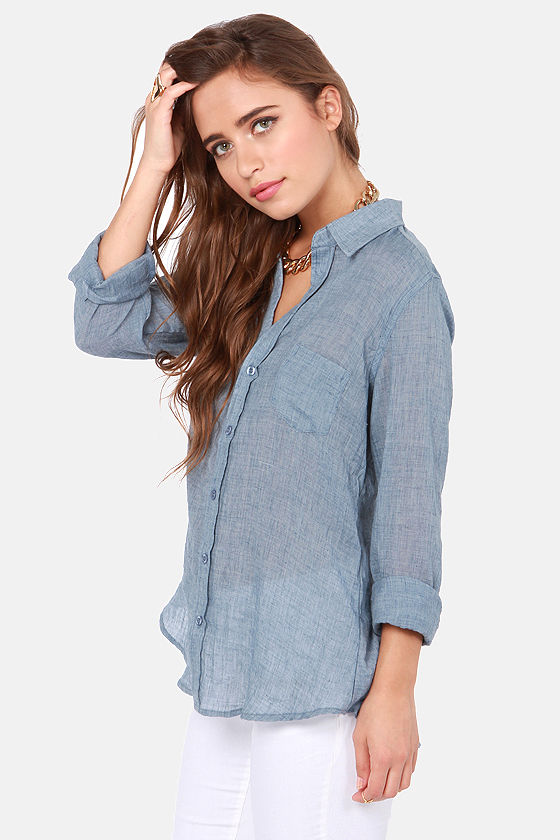 Collar-ly Pursuits Long Sleeve Blue Top at Lulus.com!