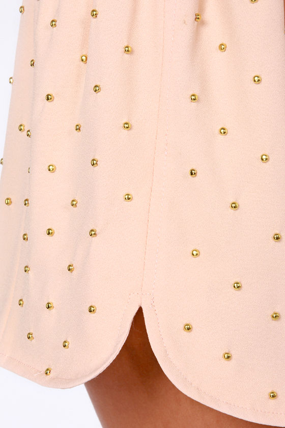 Goody Gold-Drops Studded Peach Shorts at Lulus.com!