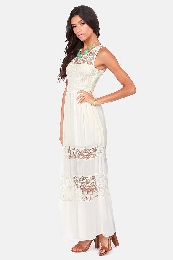 Three Layer Cake Cream Lace Maxi Dress at Lulus.com!