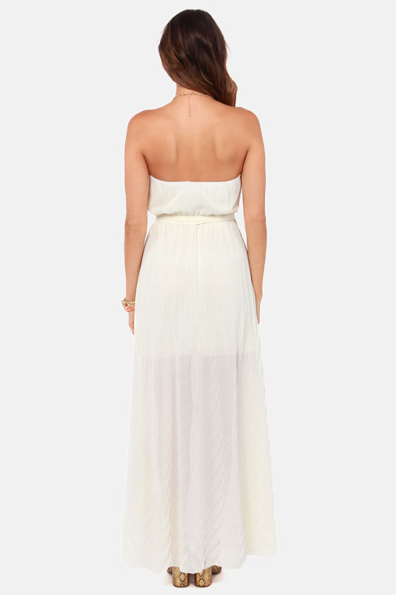 Flutter You Up Strapless Cream Maxi Dress at Lulus.com!