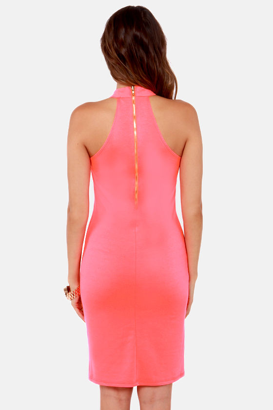 Be the Bond Girl Neon Coral Halter Dress at Lulus.com!