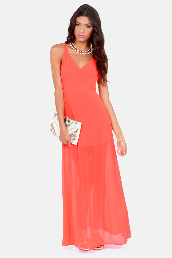 Sexy Neon Orange Dress - Maxi Dress - Backless Dress - $44.00