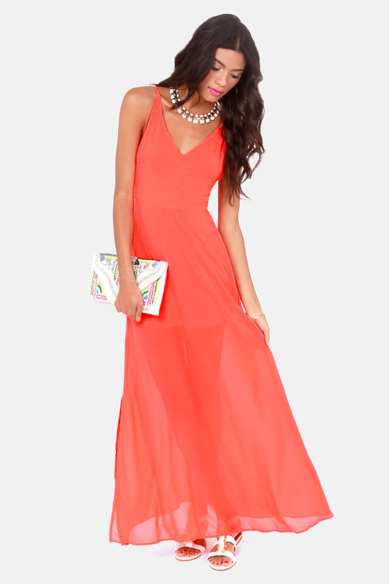 At Long Last Neon Orange Maxi Dress at Lulus.com!