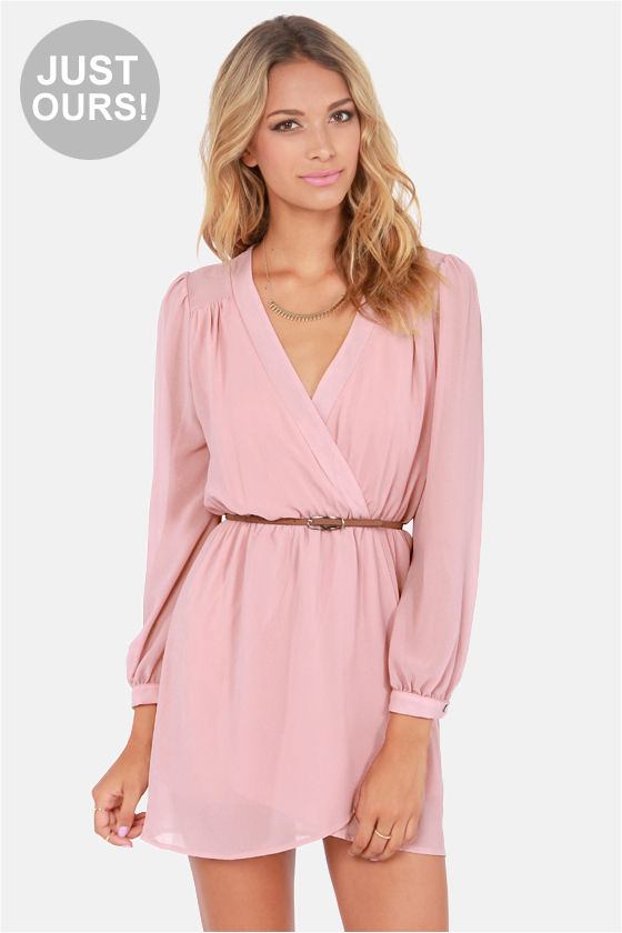 Stylish Blush Pink Dress - Wrap Dress - Long Sleeve Dress - $47.00