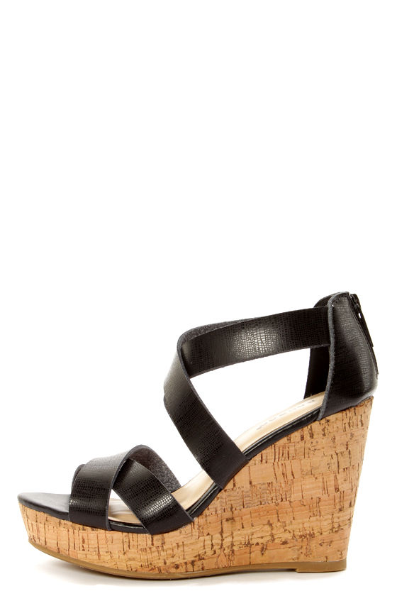 f40d795ce31 Bamboo Parker 12 Black Crisscrossing Strappy Wedge Sandals -  34.00